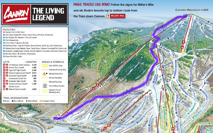 peakbagger-paul.com Cannon Mountain Trail Map on